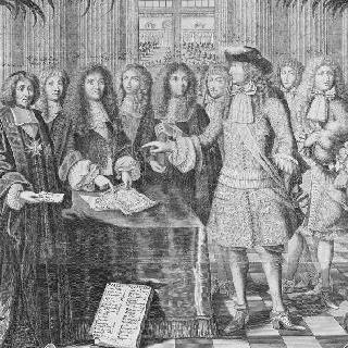 1682년 왕실 달력 : 각료들에 둘러싸인 루이 14세