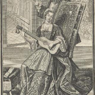 궁전 사제와 함께 있는 기타를 치는 귀부인