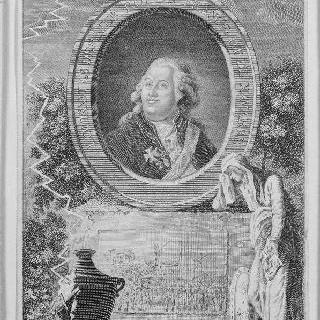 루이 16세 상반신과 그의 처형에 대한 우의화
