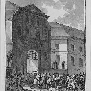 생-라자르 수도원을 약탈하고, 밀가루 자루를 승리의 상징으로 시장으로 가져가는 군중들