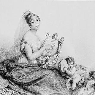 리라를 연주하는 오르탕스 왕비