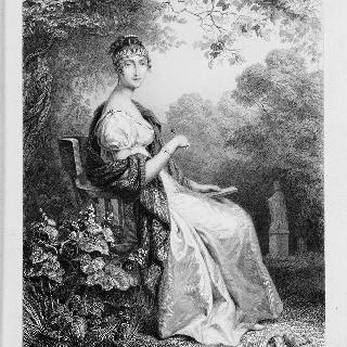 공원에 앉아 글을 쓰고 있는 오르탕스 왕비