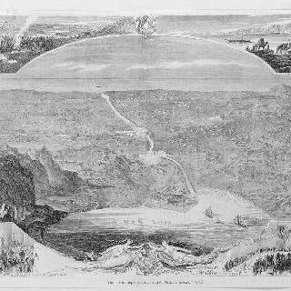 수에즈 운하의 관통로 파노라마 전경