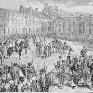이탈리아에서 돌아와 바젠 사단을 사열하고 있는 나폴레옹 3세, 1860년 6월 6일