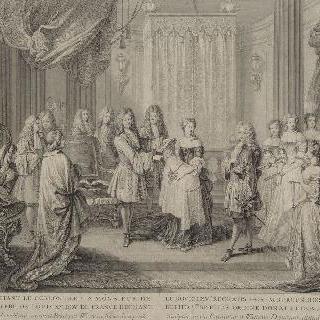 1682년 8월 6일 부르고뉴 공작에게 생테스프리 훈장을 수여하는 루이 14세