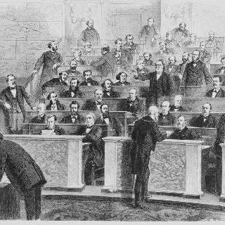 1870년 국회에서 쥘 파브르에 의해 주재되고 있는 좌파 의원들 좌석