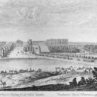 1674년 연못 쪽에서 본 베르사유 성과 정원, 도시 전경
