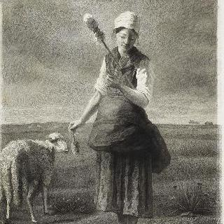 실톳대를 들고 있는 여자 목자