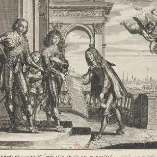 콩데 왕자들인 앙리와 루이 부르봉에게 자신의 작품 중 하나를 소개하는 피에르 파이요