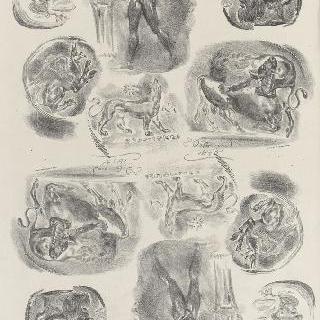 여섯 개의 고대 돋을 새김 메달 인쇄 연습, 1825년