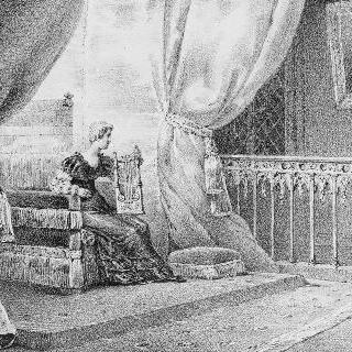 외젠 왕자의 초상을 바라보며 앉아서 리라를 연주하는 귀부인