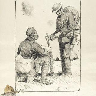 앉아서 책을 읽는 병사와 서 있는 병사