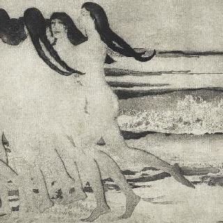 해변 위를 달리는 나체 여자들 그룹