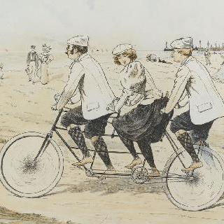 석판화 시리즈 : 자전거 경기, 3인승 자전거