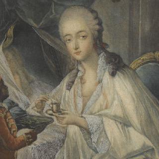 단장 중인 바리 부인 (1743-1793)과 그녀에게 커피 시중을 드는 자모르