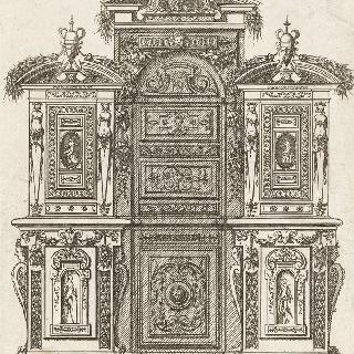 삼중 박공으로 된 두 몸통의 장롱을 묘사한 판화