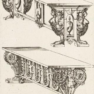 위 왼쪽 4분의 3각도로 본 두 테이블을 묘사한 판화