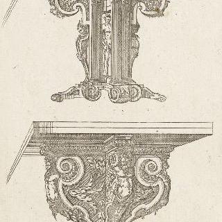 아래 중간 부분 왼쪽 4분의 3각도로 본 부채형 두 테이블을 묘사한 판화