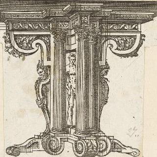테이블 삼각발을 묘사한 판화