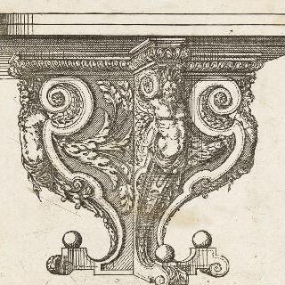 왼쪽 4분의 3각도로 되어 있는 부채형 테이블 다리를 묘사한 판화