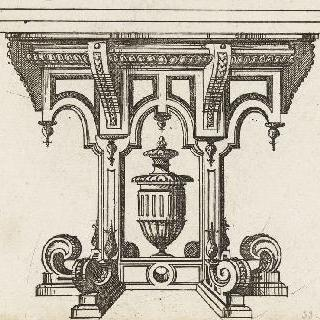 정면으로 본 테이블 다리를 묘사한 판화
