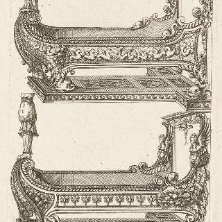 두 개의 간이 침대를 표현한 판화
