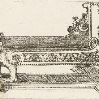 잘린 큰 침대를 묘사한 판화