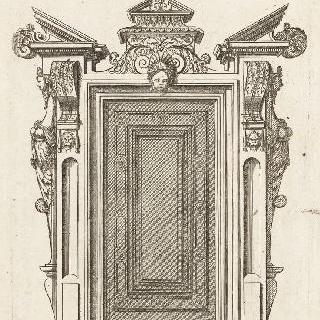 문과 문틀을 묘사한 판화