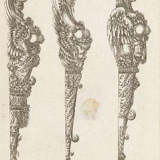 오른쪽 프로필로 본 세 흉상주를 묘사한 판화