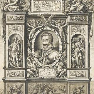 권력의 신, 정의의 신, 군대의 여신, 명성의 신에 둘러싸인 앙리 4세