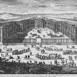판 49 : 1681년 베르사유의 왕의 큰 마구간 전경