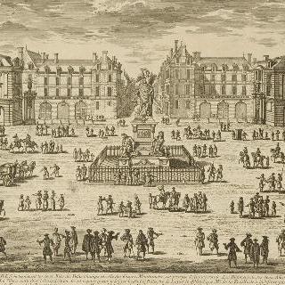판 33 : 루이 14세의 도보상이 있는 승리광장 전경