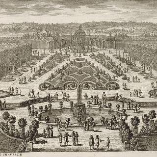 판 175 : 샤빌 성의 철망과 정원, 화단, 폭포 전경