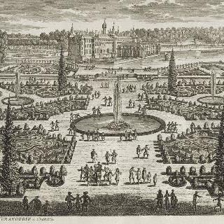 판 217 : 샹티이의 오랑쥬리 회화관 화단과 성의 전경