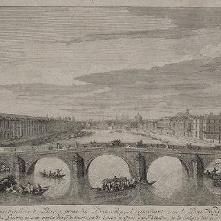 판 4 : 1730년경 퐁 눼프 위 퐁 루아얄에서 본 센강 위 파리의 전경