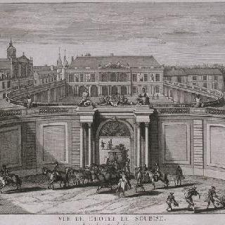 판 14 : 1750년경 입구 쪽에서 본, 파리의 수비즈관 전경