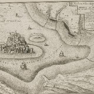 판 84 : 1705년 몽 생 미쉘 수도원과 암벽 전경