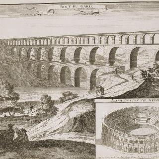 판 100 : 1705년 님므의 원형경기장과 가르 다리, 수로 모습