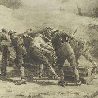 작동 중의 프랑스 대포 (샹파뉴 전선)