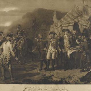 요크-타운 공격에 대한 마지막 명령을 내리는 워싱턴과 로샹보