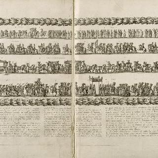 1660년 8월 26일 루이 14세와 마리-테레즈의 웅장한 입성 행렬 장면