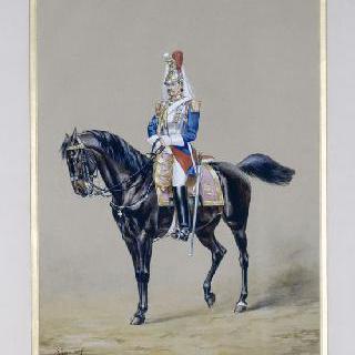1855년 말을 타고 근무중인 예복을 입은 센, 100인 부대의 기병,