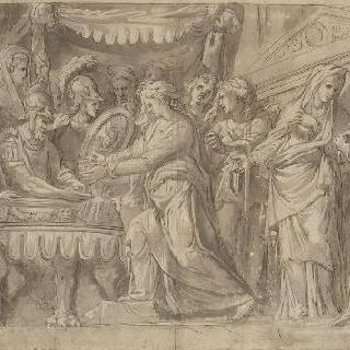 베이 탈환 후 카밀의 소원에 따라 보석을 맡기는 로마인들