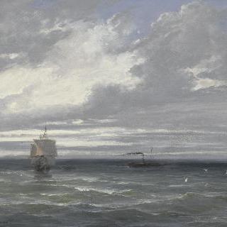 흐린 날씨의 바다