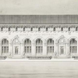 파리 장식 예술 학교, 재건축 계획안, 중앙 정면, 입면도