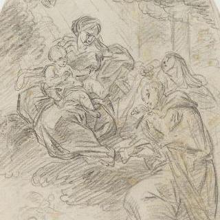 두 성자들의 경배를 받는 성모와 아기 예수