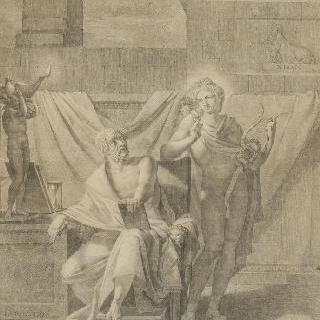 아폴론의 구술에 따라 글을 쓰는 호메로스
