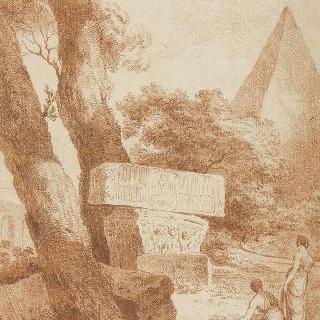 고대 건축물의 잔해가 있는 풍경