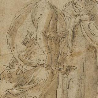 서 있는 주름진 천을 두른 두 여인