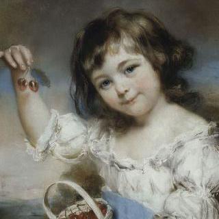체리를 든 어린 소녀